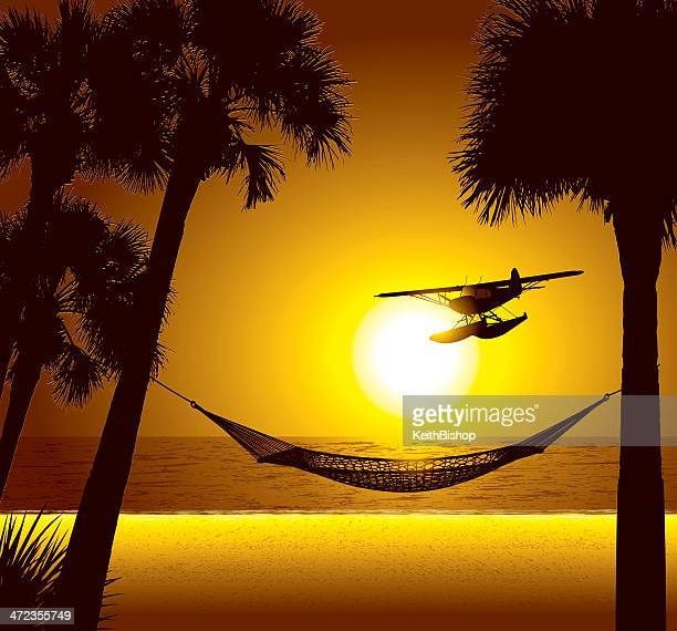 Beach Vacation Destination with Hammock and Seaplane