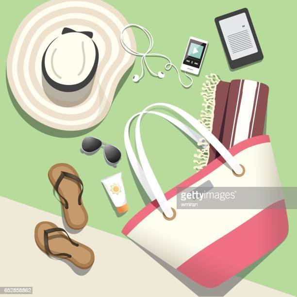 Beach vacation summer accessories - vector illustration
