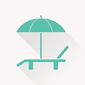 Beach vector icon. Umbrella with deck chair