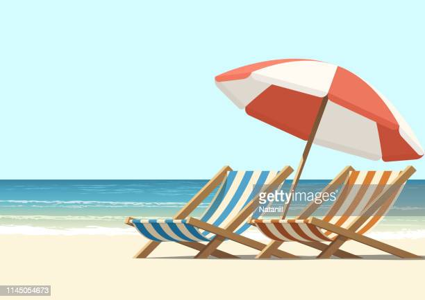 stockillustraties, clipart, cartoons en iconen met strand - summer