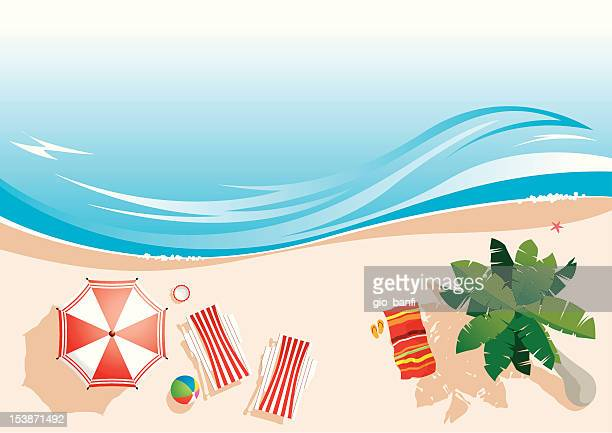 beach - coconut leaf stock illustrations, clip art, cartoons, & icons