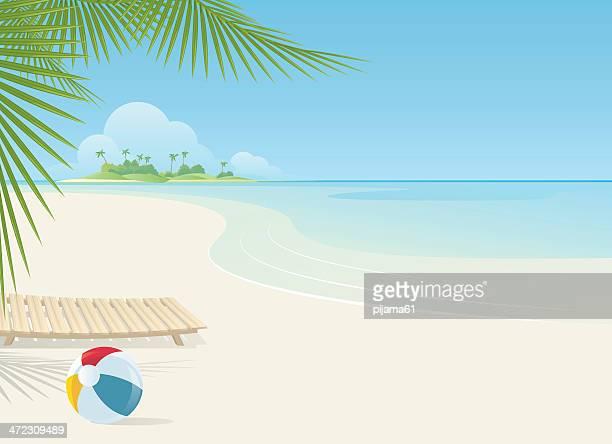 ilustraciones, imágenes clip art, dibujos animados e iconos de stock de la playa - pelota de playa