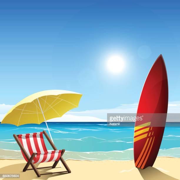 Ilustraciones de stock y dibujos de sombrilla de playa getty images - Sombrilla playa ...