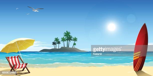 ilustrações, clipart, desenhos animados e ícones de a praia  - panorâmica