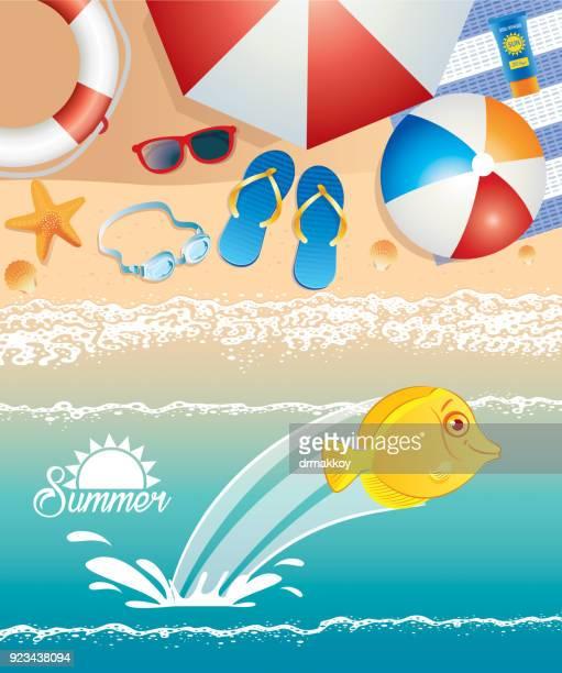 beach - acanthuridae stock illustrations, clip art, cartoons, & icons