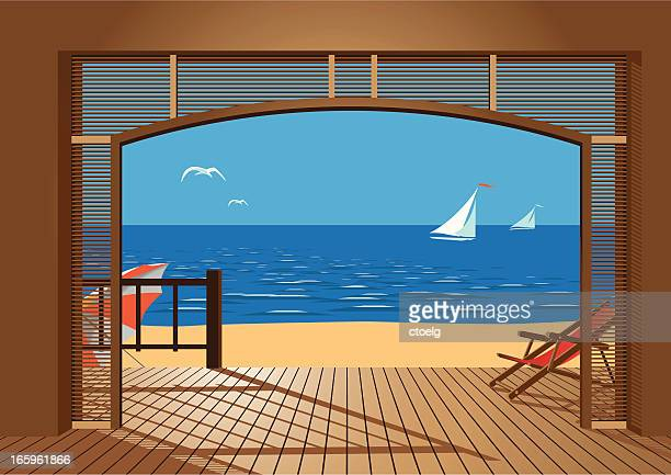 beach view - looking at view stock illustrations, clip art, cartoons, & icons