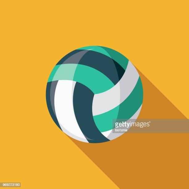 illustrazioni stock, clip art, cartoni animati e icone di tendenza di icona estiva del beach volley flat design con ombra laterale - pallone da pallavolo