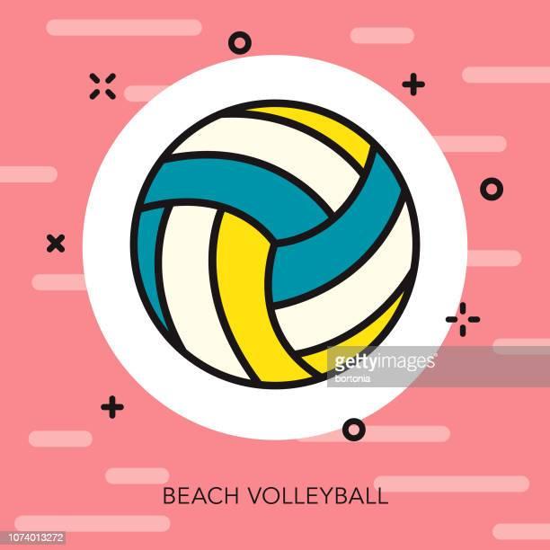 ilustraciones, imágenes clip art, dibujos animados e iconos de stock de playa voleibol delgada línea verano icono - vóleibol de playa