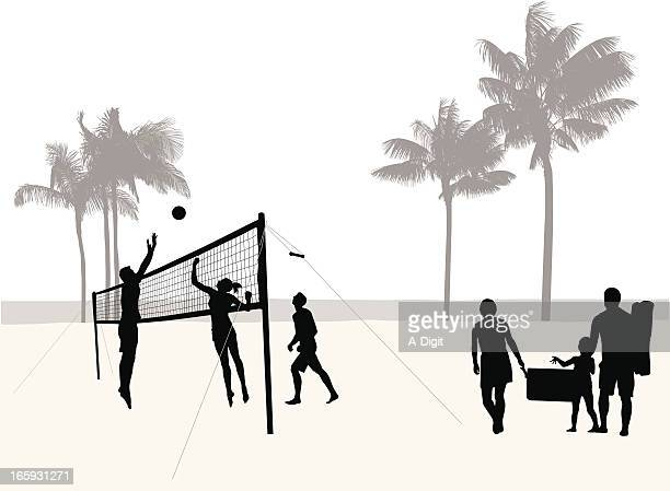 Beach Volleyball Vector Silhouette