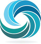 Beach waves icon logo