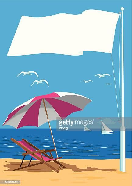 ビーチでフラグ極 - 旗棒点のイラスト素材/クリップアート素材/マンガ素材/アイコン素材
