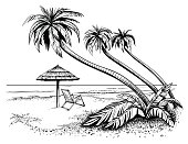 Beach with umbrella and palms, drawing.