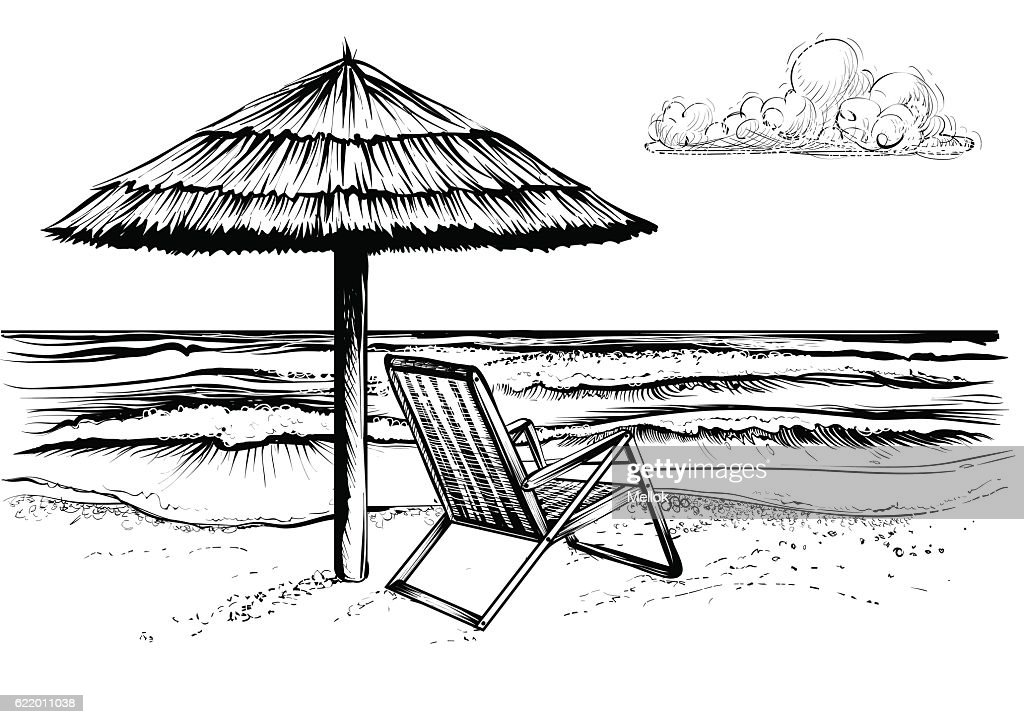 Beach with waves, parasol and chaise longue.