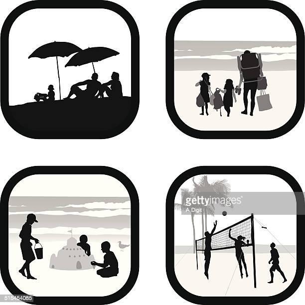 ilustraciones, imágenes clip art, dibujos animados e iconos de stock de beachmemories - vóleibol de playa