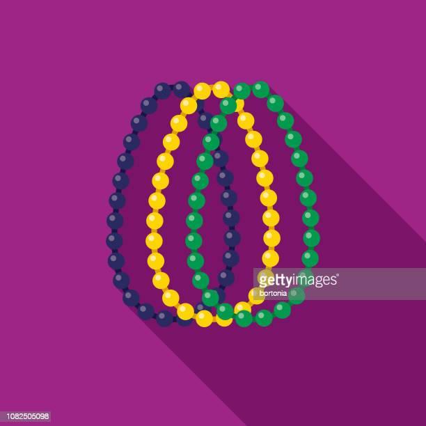 beads flat design mardi gras icon - necklace stock illustrations, clip art, cartoons, & icons