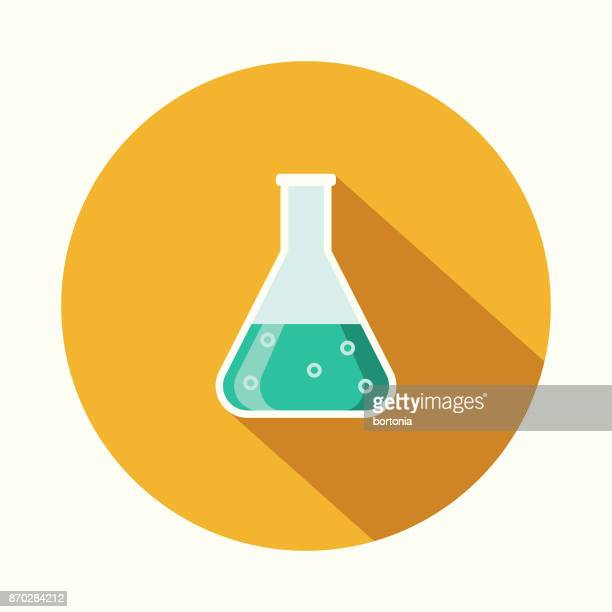 Beaker Flat Design Science & Technology Icon with Side Shadow