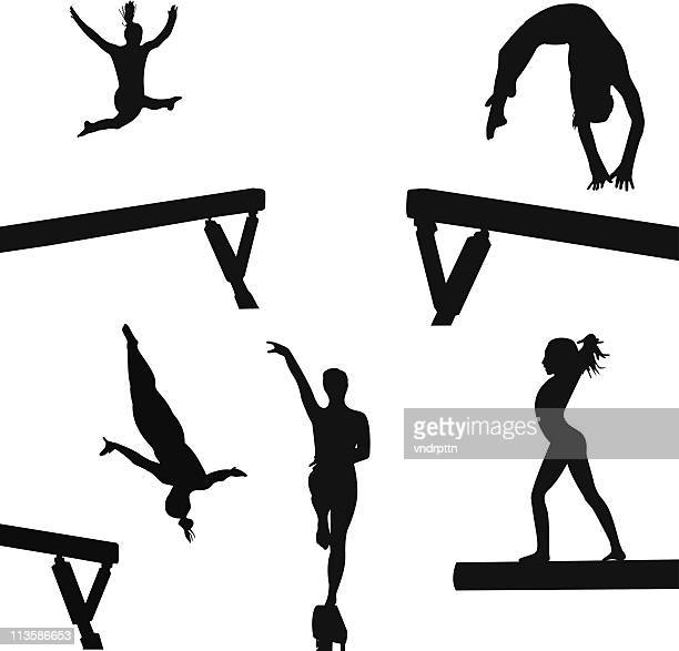 beam girls - gymnastics stock illustrations, clip art, cartoons, & icons