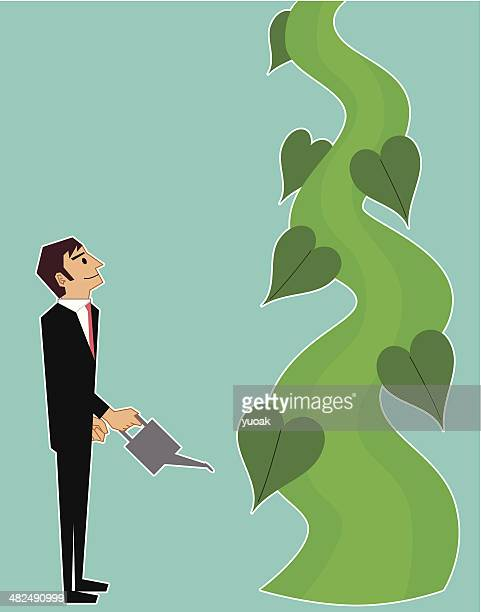 beanstalk - plant stem stock illustrations, clip art, cartoons, & icons