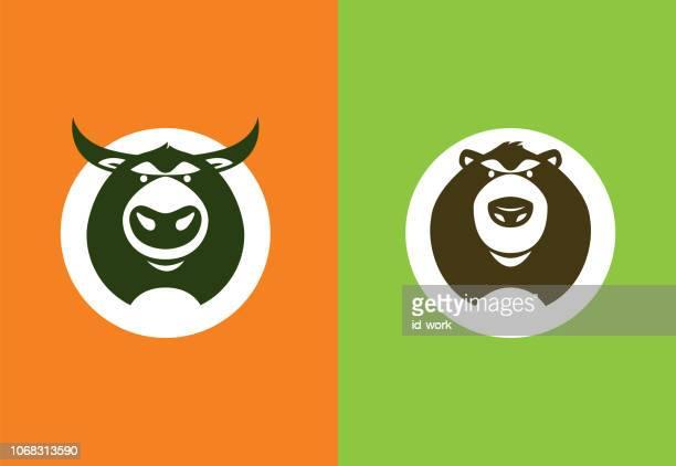 bear and bull symbols - bull market stock illustrations, clip art, cartoons, & icons