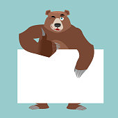Bear and empty banner. Wild animal and blank