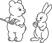 Bear and hare brush their teeth with toothbrushes. Picture for coloring, outline.