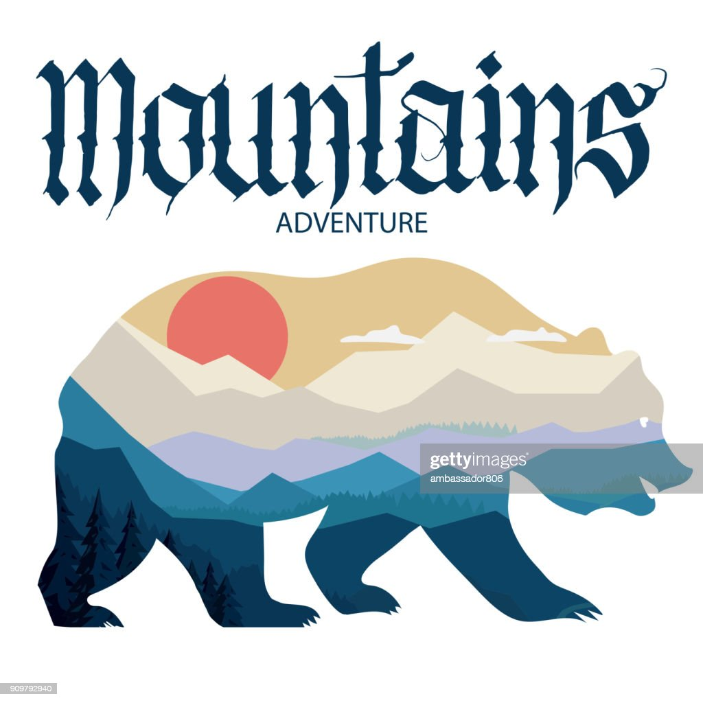 Bear and nature double exposure, mountain landscape. Wildlife adventure. Vector