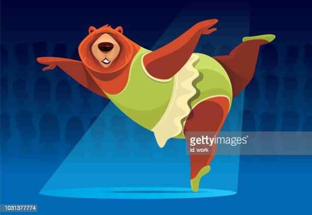 bear ballerina - dancing stock illustrations