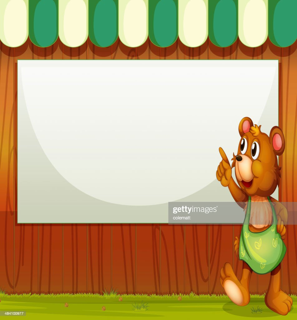 bear beside the empty template