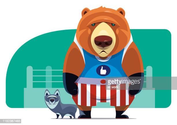 bärenboxer mit wolf - manly wilder stock-grafiken, -clipart, -cartoons und -symbole