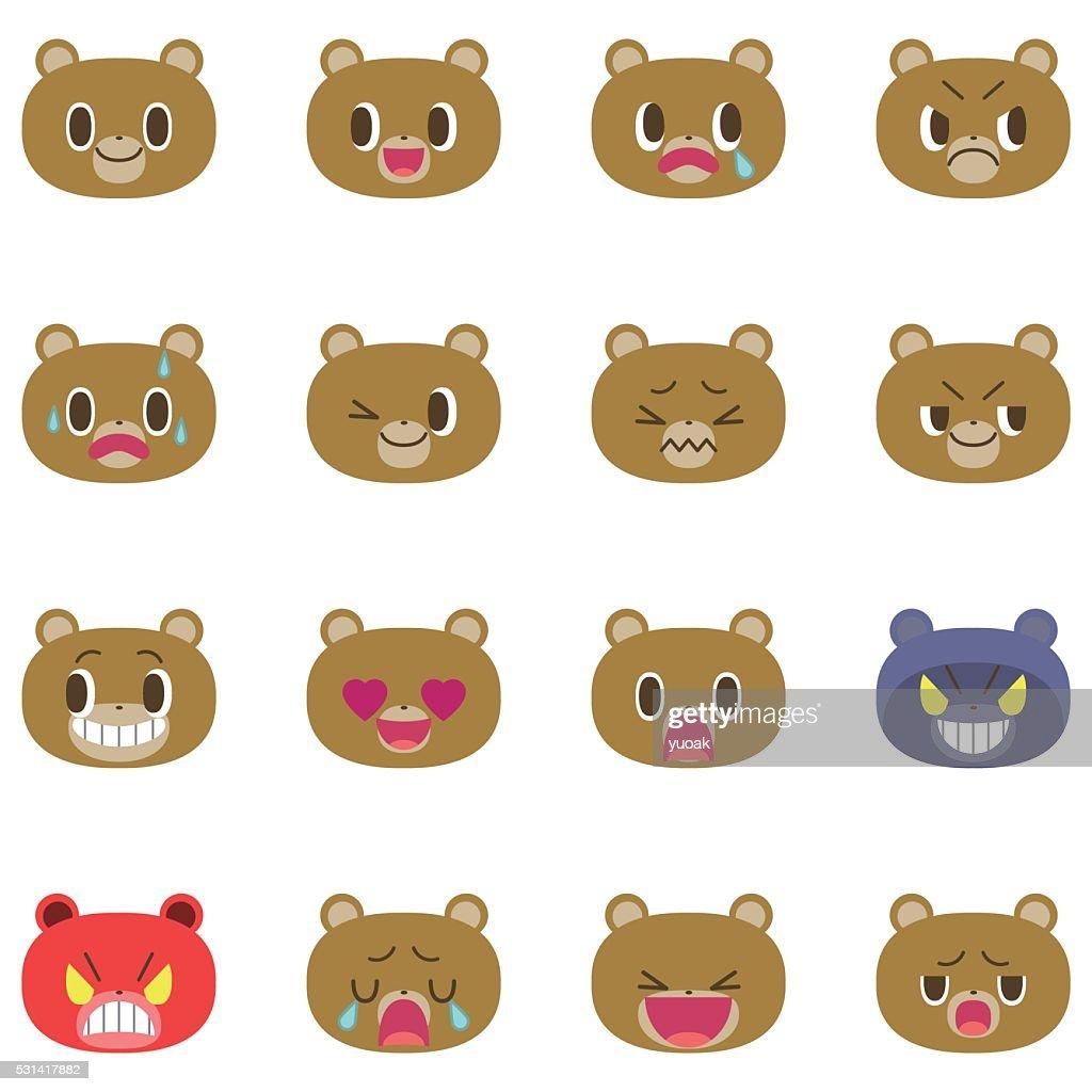 Bear cartoon emotion faces