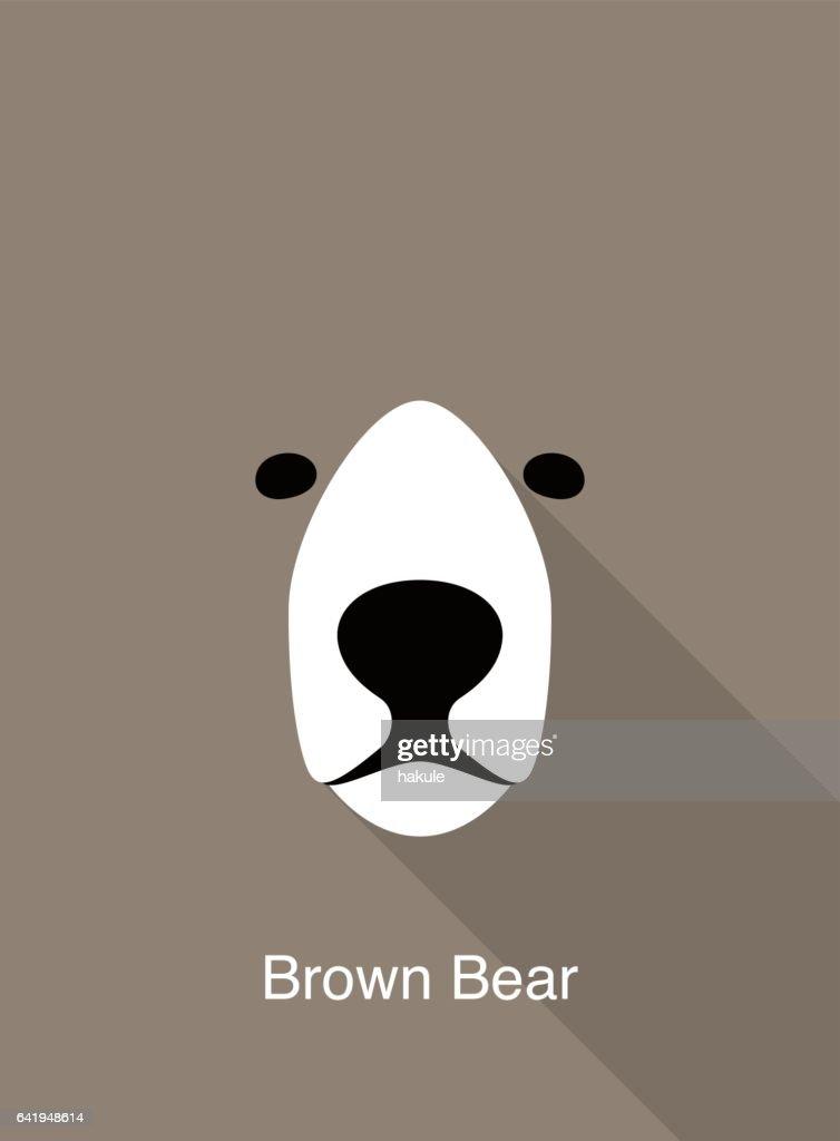 Bear cartoon face, flat animal face icon vector