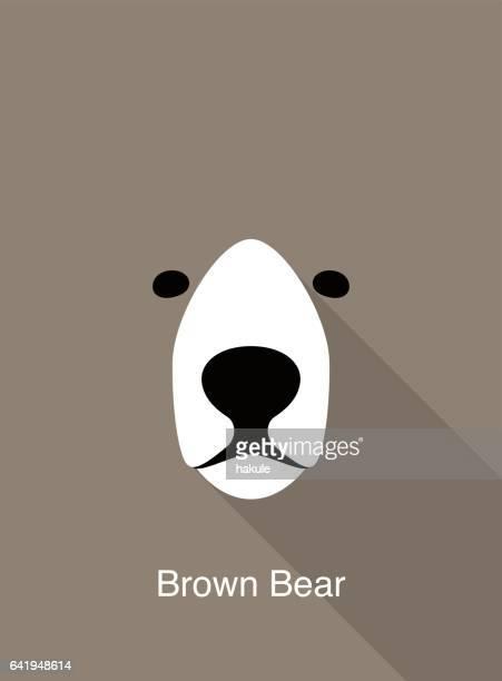ilustraciones, imágenes clip art, dibujos animados e iconos de stock de oso de dibujos animados cara, vector icono de cara plana animal - oso pardo