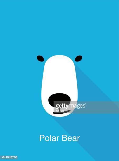 ilustraciones, imágenes clip art, dibujos animados e iconos de stock de oso de dibujos animados cara, vector icono de cara plana animal - oso polar