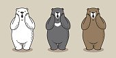 Bear Cartoon grizzly Polar Bear vector illustration doodle