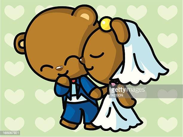 bear cartoon - animal heart stock illustrations, clip art, cartoons, & icons