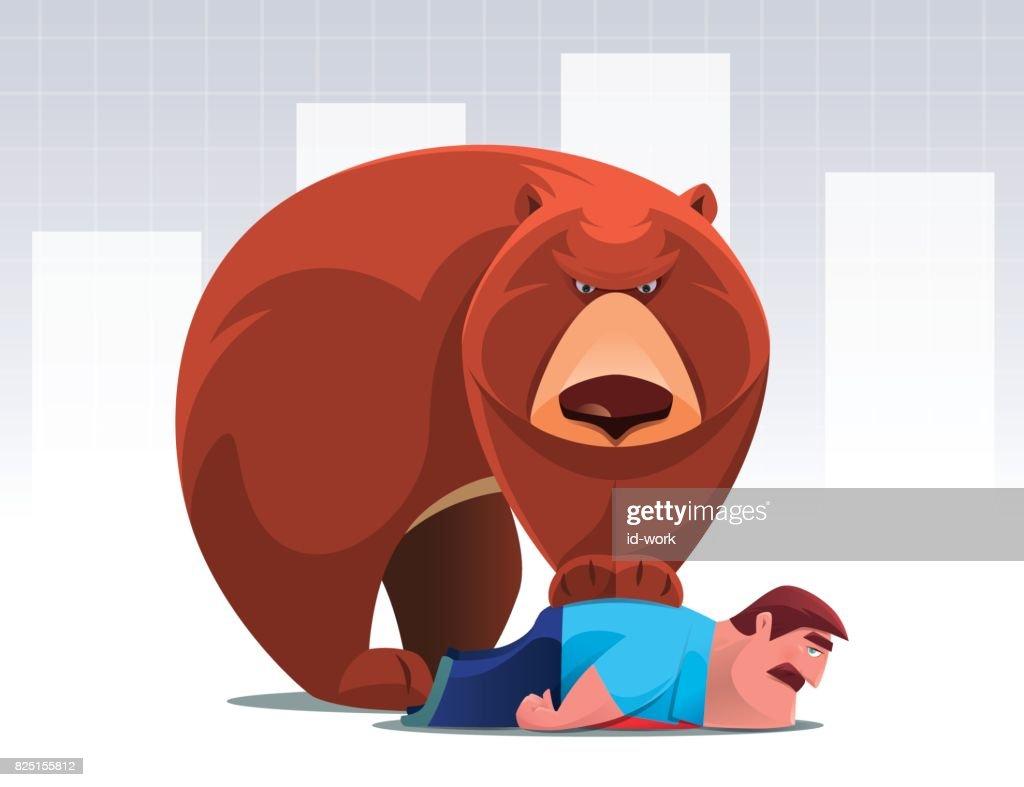 bear catching businessman