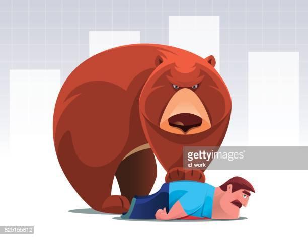ilustraciones, imágenes clip art, dibujos animados e iconos de stock de captura de empresario de oso - oso pardo
