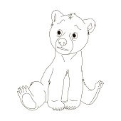 Bear  Coloring pages, cartoon. Coloring book for children. Vector