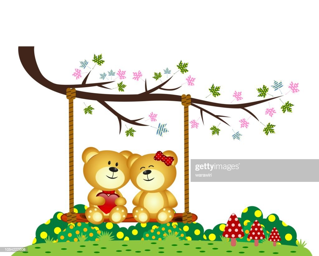 Bear Couple in love sitting on a swing under a tree at the park