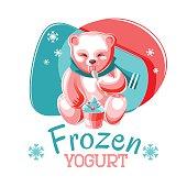 Bear Eating Frozen Yogurt