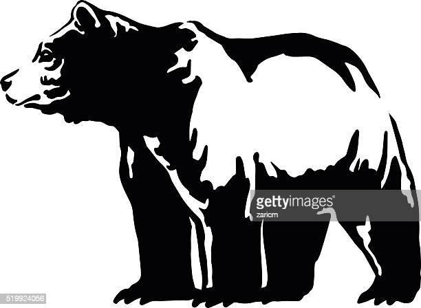 ilustraciones, imágenes clip art, dibujos animados e iconos de stock de emblema de oso - oso pardo
