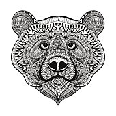 Bear face. Hand Drawn doodle vector illustrat