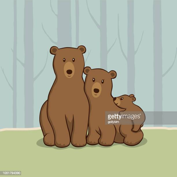 bear family in the woods - bear cub stock illustrations