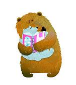 Bear family reading