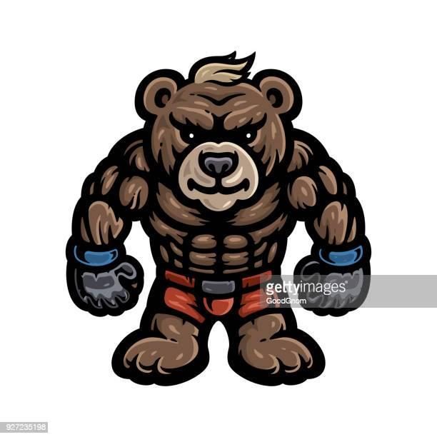 bear fighter - animal body stock illustrations, clip art, cartoons, & icons
