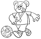bear football player character coloring book