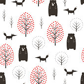 Bear, fox and trees seamless pattern on white background.