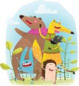 Bear Fox Hedgehog Rabbit and Crow Funny Friends