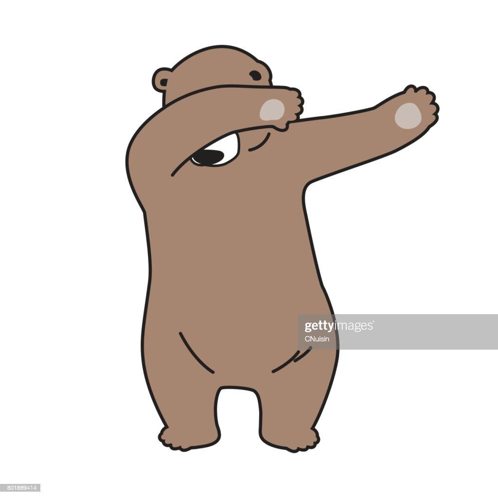 Bear Grizzly Dab dance cartoon illustration vector