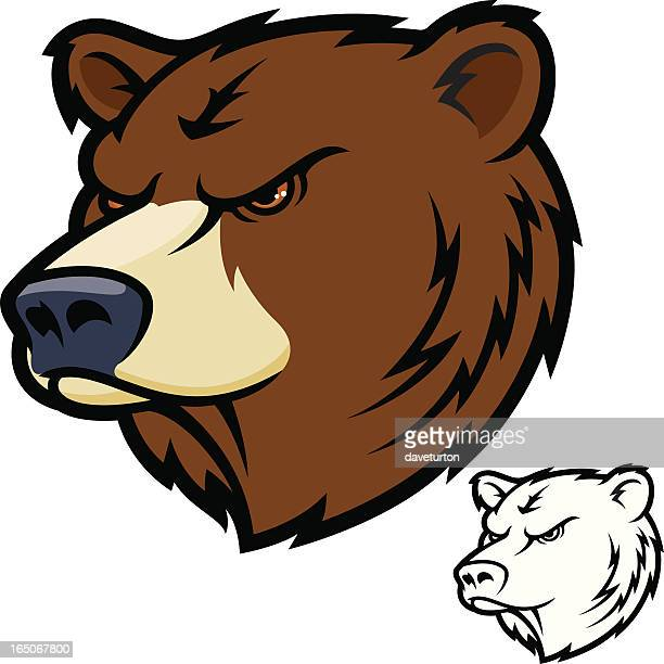 bear head mean - agression stock illustrations, clip art, cartoons, & icons